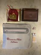 America West Airlines Leather Card Holder Brass Keychain Travel Bag Vegas Pin 92