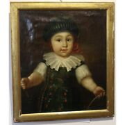 Antique 1785 Original Adolphe Burnand Oil Canvas Painting Signed Gutzwiller