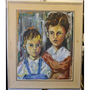 Vintage 20th Swiss Original Two Boys Oil Canvas Painting Signed M Trotta