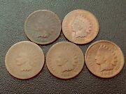 Lot Of 5 Better-date Indian Head Cents 1864br. 1865 1881 1883 1886 Ty.2
