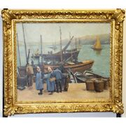 Vintage 20th France Port Brittany Oil Canvas Painting Signed J Guyot-guillain