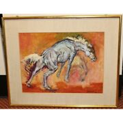 Vintage 1971 Italy Rare Original Cheval Oil Canvas Painting Signed Gregori