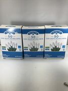Led 50 Cool White Mini Christmas Lights 11.2' Green Wire Wedding Lot Of Three
