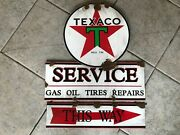 Antique Style With Barn Find Look Texaco Star Dealer Sales Service Sign