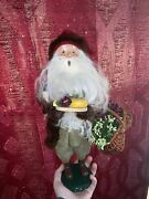 Byers Choice The Carolers Santa Claus With Wine Cheese And Grape Basket 2013