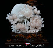 19.4 Natural Xiu Pink Jade Carving Subshrubby Peony Flower Birds Lucky Statue