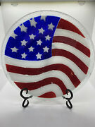 Peggy Karr Us Flag Bowl 10.75 Perfect Condition Signed Numbered Retired