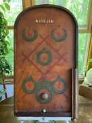 Vintage Antique 1930's The Rambler Tabletop Wooden Pinball Game Decals 24x14