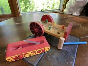 Vintage Wood Wagon Bench Knockout Hammer Peg Toy And Tank Train Pull Toy Lot Of 2