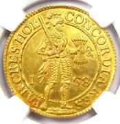 1758 Netherlands Holland Gold Provincial 2 Ducats Coin 2d - Ngc Unc Ms