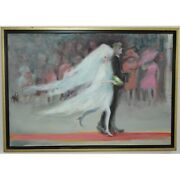 Vintage 20th France Original The Bride Oil Canvas Painting Signed -marie Lise