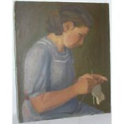 Vintage 1942 Swiss Original Young Girl Oil Canvas Painting Signed Jean Roll