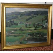 Vintage 20th Swiss Original View Valley Joux Oil Canvas Painting Signed Meylan