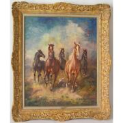 Vintage 20th Germany Original Chevaux Oil Canvas Painting Signed Hm. Friedmann