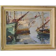 Vintage 20th Italy Rare Original Boats Oil Canvas Painting Signed