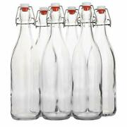 Flip Top Brewing Glass Bottle With Airtight Stopper Leak Proof Cap Bpa Free 6pc