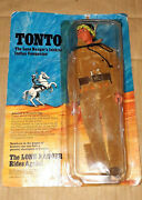 Vintage 70and039s Marx/gabriel The Lone Ranger Tonto Indian Action Figure Carded Moc