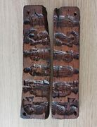 Antique Wooden Carved Dutch Springerle Cookie Mold 2 Pieces