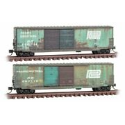 Micro-trains Mtl N-scale 50ft Dd Boxcars Penn Central/pc Weathered 2-pack