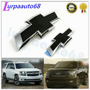 Front And Rear Black For 2015-2020 Chevrolet Tahoe Suburban Bowtie Emblem 84722856