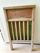 Large Family Size Vintage Wood And Brass Scrub Wash Board, Golden Beam, 13x23