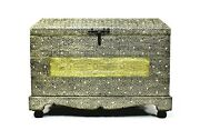 Large Storage Old Fashioned Chest Authentic Moroccan Trunk Box Silver Handmade
