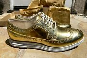 Cole Haan Lunargrand Wing Tip Metallic Gold Size 9.5 New Mint In Box Beautiful