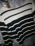 And039ballinger Goldand039 Women Size M Black And White Striped Sweater. 3/4 Sleeves. Cotto
