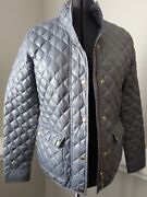 J. Crew Downtown Quilted Jacket Large Gray Silver Gold Accents Zipper Snap