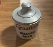 Vintage - Carnation Malted Milk Canister - W/lid - Soda Fountain Counter Display