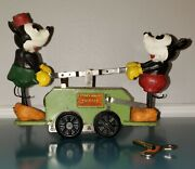 1930s Lionel Mickey And Minnie Handcar With 3 Rail Track-serviced- Vg