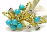 Vintage 18k Yellow Gold - Diamond And Turquoise Large Spray Pin Italy 1960and039s