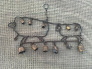 Rare Vintage Rustic Metal Iron Wind Chime Mama Lamb And Baby Lamb With Bells