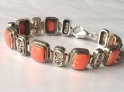 Antique Russian Chain Bracelet Sterling Silver 925 Coral Stone Womenand039s Jewelry
