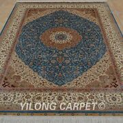 Yilong 5and039x7and039 Handmade Silk Area Rugs Indoor Living Room Blue Carpet 0175