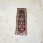 Yilong 1and039x3and039 Red Handknotted Silk Carpet Medallion Mini Hallway Rug Runner L033h
