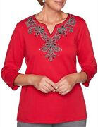 Alfred Dunner Plus 2x Red Knightsbridge Station Embellished 3/4 Sleeve Top