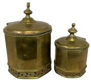 Pair Antique English George Iii Brass Handmade Container Lid Jars Tea Canisters