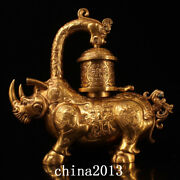 Chinese Tang Dynasty Temple Palace Bronze 24k Gilt Cattle Palace Lantern Statue