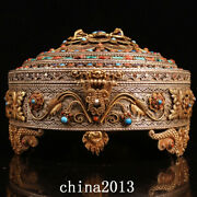 Antique Chinese Dynasty Nepal Temple Palace Tibetan Silver Gem Inlay Jewelry Box