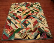 Vintage Hand Tied Louisiana Crazy Quilt Patchwork Neon Colorful 76 X 60