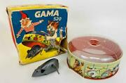 Vintage 1950s Gama 520 West Germany Wind-up Cat Mouse Trap Tin Toy Original Box