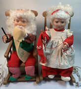 """Santas Best Animated Rocking Chairs Mr And Mrs Claus Christmas Vintage 1993 - 17"""""""