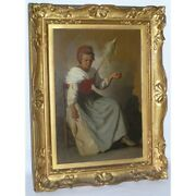 Antique 19th Swiss Original Woman Spinning Oil Canvas Painting Signed Van Muyden