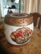 Vintage Chinese Wood Rice Barrel, Rare, Hand Made Hand Carved 16 In Tall