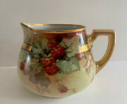 Limoges France Hand Painted Lemonade Cider Pitcher Berries And Flowers