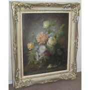 Antique 19th Original Bouquet Flowers Oil Cardboard Painting Signed H Richard