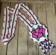 Vintage Handcrafted Native American Beaded Pink Floral Medallion Necklace