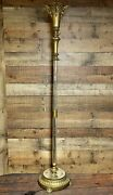 Beacon Lamp Co 1898 Brass Etched Glass Torchiere Floor Lamp Art Deco