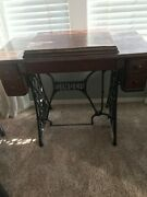 Vintage Singer Sewing Machine Cabinet Without Machine. Beautiful Wrought Iron.
